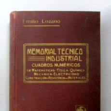 Libros antiguos: MEMORIAL TÉCNICO INDUSTRIAL. EMILIO LOZANO. LIBRERÍA DE FELIU Y SUSANNA 1912. 623 PÁGINAS.. Lote 133346274
