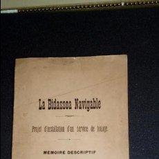 Libros antiguos: RIO BIDASOA. EL BIDASOA NAVEGABLE. ESTUDIO. SERVICIO DE REMOLCADOR.. Lote 134006734