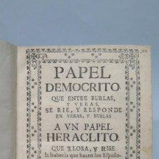 Libros antiguos: 1725.- PAPEL DEMOCRITO PAPEL HERACLITO MINAS DE GUADALCANAL RÍO TINTO, ETC. JORGE BRITO DE ALMANSA. Lote 134429594