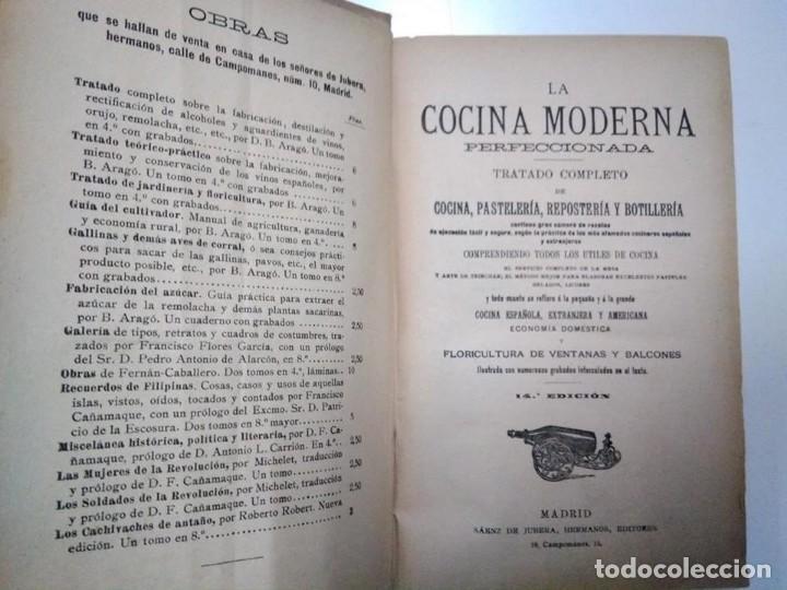 Libros antiguos: La cocina moderna perfeccionada. Saenz de Jubera. Principios siglo XX. 1900 aprox - Foto 4 - 134638818