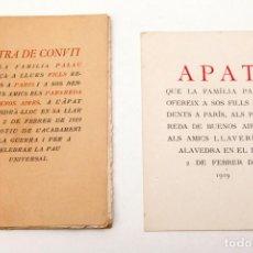Libros antiguos: ANTONI PALAU I DULCET - LLETRA DE CONVIT QUE LA FAMILIA PALAU ... - TIRATGE DE 50 EXEMPLARS PELS AMI. Lote 135672183