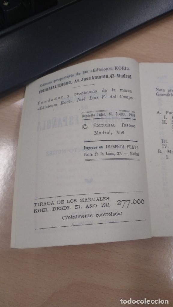 Libros antiguos: MINI LIBRO KOEL. GRAMÁTICA ESPAÑOLA Nº 31. AÑO 1959. - Foto 3 - 135879386