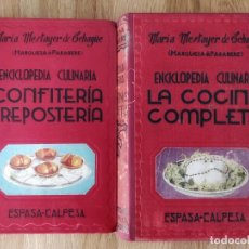 Libros antiguos: LA COCINA COMPLETA Y CONFITERIA Y REPOSTERIA, LOTE D MARÍA MESTAYER DE ECHAGÜE MARQUESA DE PARABERE. Lote 135907810
