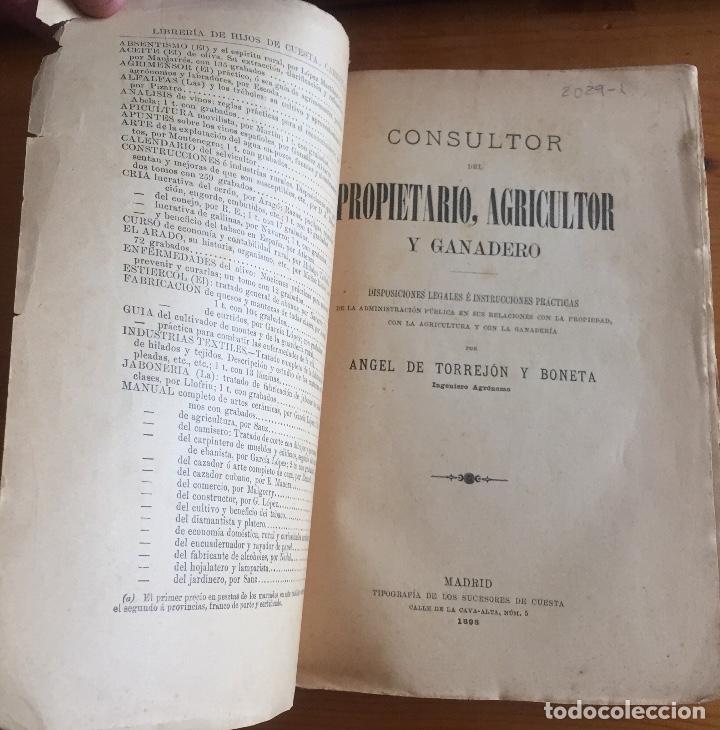 Libros antiguos: CONSULTOR DEL PROPIETARIO AGRICOLA Y GANADERO- ANGEL TORREJON Y BONETA- 1.898 - Foto 2 - 136025734