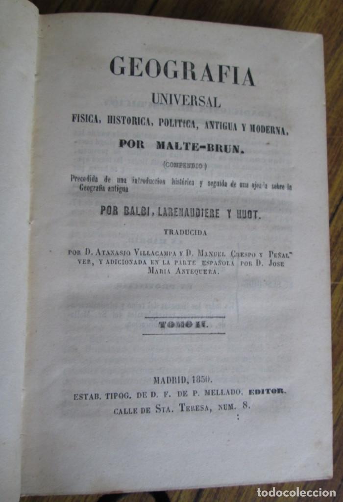 GEOGRAFÍA UNIVERSAL - FÍSICA, HISTORIA, POLÍTICA, ANTIGUA Y MODERNA POR MALTE BRUN TM 2 MADRID 1850 (Libros Antiguos, Raros y Curiosos - Historia - Otros)