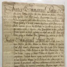 Libros antiguos: [MANUSCRITO. ORDEN DE SAN JUAN DE JERUSALÉN.] [CONCESIÓN DE LA ENCOMIENDA DE VALLFOGONA.] . Lote 136604454