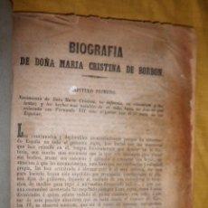 Libros antiguos: BIOGRAFIA DE DOÑA MARIA CRISTINA DE BORBON - AÑO 1854 - RARO PANFLETO.. Lote 136687410