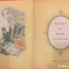 Libros antiguos: COCINA, SLICES OF REAL FLAVOR, BACON RECIPES, RECETAS DE. CHICAGO AÑOS 20. Lote 136688438