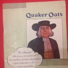Libros antiguos: COCINA, QUAKER OATS UN ALIMENTO DELICIOSO. Lote 136701014