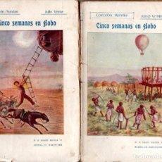 Libros antiguos: JULIO VERNE : CINCO SEMANAS EN GLOBO (BAUZÁ, C. 1920) DOS TOMOS. Lote 137539686