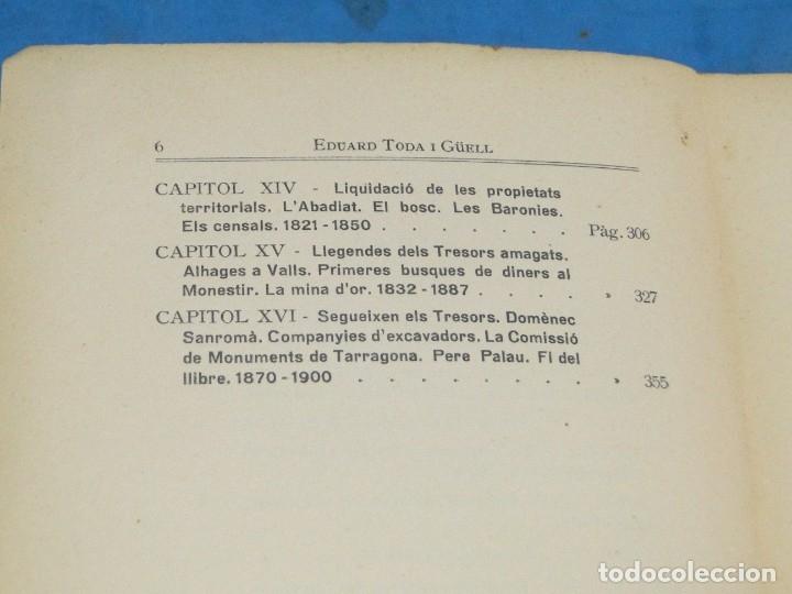 Libros antiguos: LA DESTRUCCIO DE POBLET . - EDUARD TODA I GÜELL - Foto 4 - 137609706