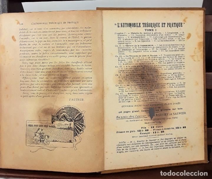 Libros antiguos: 1797- 2 libros L'AUTOMOBILE THÉORIQUE ET PRATIQUE; 1899 - Foto 9 - 22507120