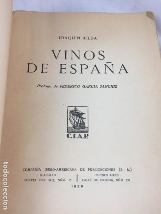 Libros antiguos: Vinos de España / prólogo de Federico García Sanchiz. Belda, Joaquin. 1929 - Foto 3 - 138089942