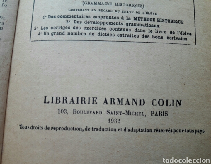 Libros antiguos: Cours GRAMMAIRE, 1932 - Foto 6 - 138540026