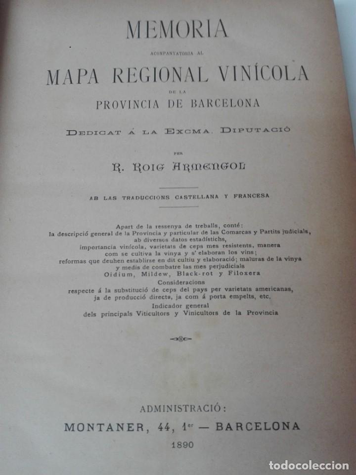 Libros antiguos: Memoria del mapa vinicola de la provincia de Barcelona año 1890 - Foto 3 - 138648482