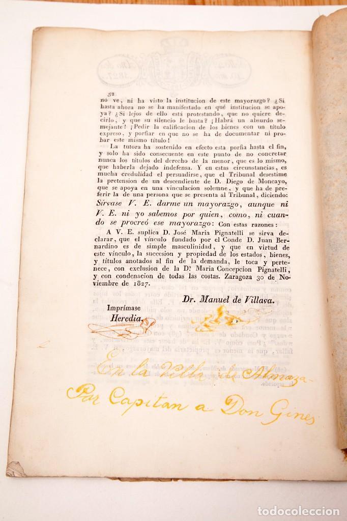 Libros antiguos: ALEGACION EN DERECHO POR DON JOSÉ MARIA PIGNATELLI EN EL PLEITO QUE SIGUE CONTRA DOÑA MARIA - Foto 8 - 138807746