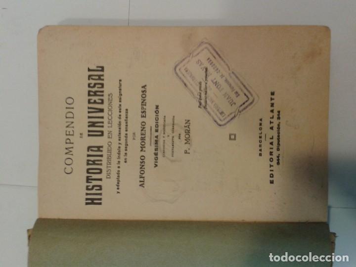 Libros antiguos: COMPENDIO DE HISTORIA UNIVERSAL 19?? ALFONSO MORENO ESPINOSA 20ª EDICIÓN ATLANTE - Foto 2 - 139031306