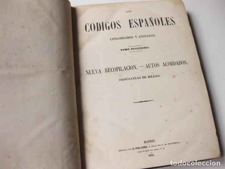 TOMO 12 DE LOS CÓDIGOS ESPAÑOLES CONCORDADOS Y ANOTADOS - 1851. ORDENANZAS DE BILBAO. 1 EDICION (Libros Antiguos, Raros y Curiosos - Bellas artes, ocio y coleccionismo - Otros)