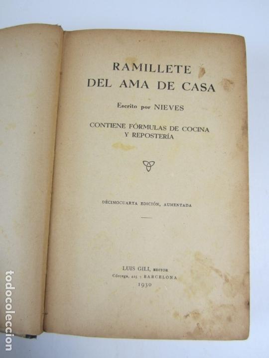 Libros antiguos: COCINA - Ramillete del ama de casa, Nieves, 1930, décimocuarta edición, Luis Gili ed., Barcelona. - Foto 2 - 139162642