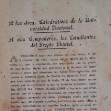 Libros antiguos: MARTIRIO DE LOS ESTUDIANTES. BENJAMÍN VEGA FLORES. CUBA. AÑO 1923.. Lote 139566622