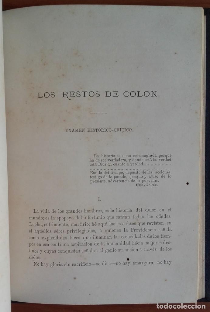 Libros antiguos: LOS RESTOS DE COLÓN. EXÁMEN HISTÓRICO-CRÍTICO. ANTONIO LÓPEZ PRIETO. CUBA. AÑO 1878. - Foto 2 - 139567026