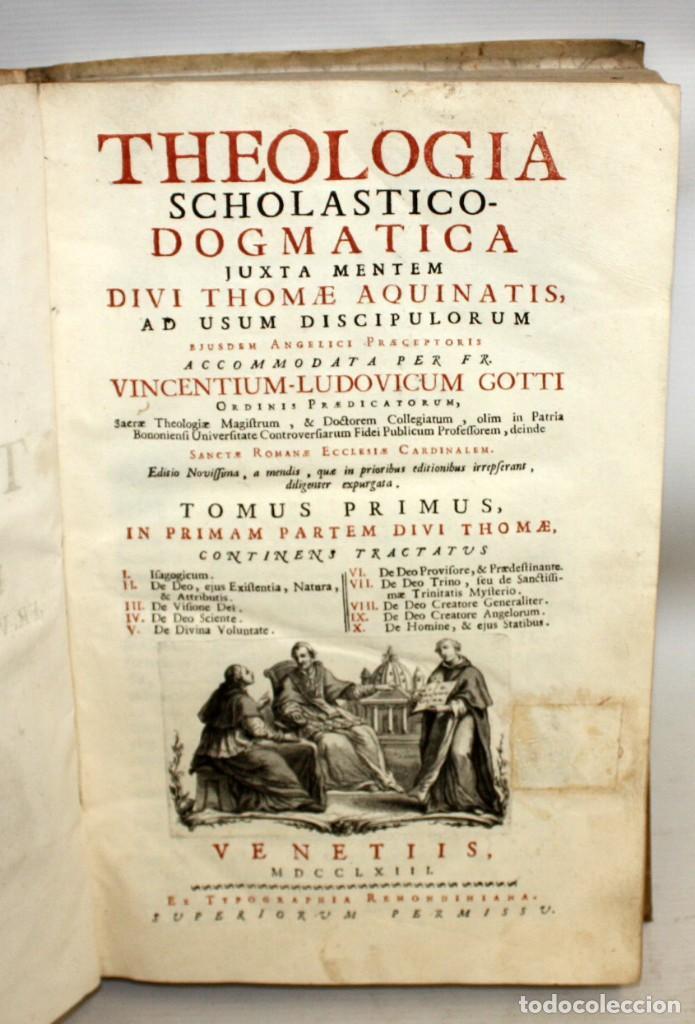 Libros antiguos: THEOLOGIA SCHOLASTICO-DOGMATICA. DIVI THOMAE AQUINATIS. VENETIIS, 1793. 3 TOMOS PERGAMINO. COMPLETA. - Foto 7 - 139698950