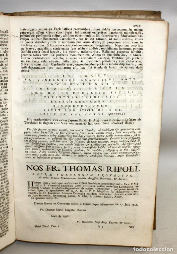 Libros antiguos: THEOLOGIA SCHOLASTICO-DOGMATICA. DIVI THOMAE AQUINATIS. VENETIIS, 1793. 3 TOMOS PERGAMINO. COMPLETA. - Foto 8 - 139698950