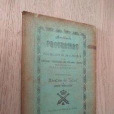 Libros antiguos: ARTILLERIA PROGRAMAS PARA EXAMENES DE ASPIRANTES A LAS DIVERSAS CATEGORIAS DEL PERSONAL OBRERO 1878. Lote 139848534