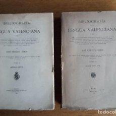 Libros antiguos: BIBLIOGRAFÍA DE LA LENGUA VALENCIANA, TOMO II SIGLO XVI Y III SIGLOS XVII Y XVIII / JOSÉ RIBELLES CO. Lote 140224686