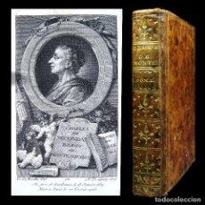 Libros antiguos: AÑO 1777 MONTESQUIEU OBRAS GRABADO FRONTISPICIO EXCELENTE EJEMPLAR ENCUADERNACIÓN EN PLENA PIEL. Lote 106961999