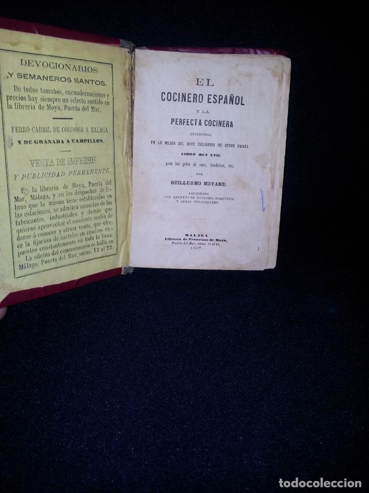 GUILLERMO MOYANO - EL COCINERO ESPAÑOL Y LA PERFECTA COCINERA - PRIMERA EDICION MALAGA 1867 (Libros Antiguos, Raros y Curiosos - Cocina y Gastronomía)