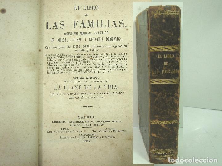 1857 - EL LIBRO DE LAS FAMILIAS - NOVISIMO MANUAL PRACTICO -COCINA HIGIENE ECONOMIA DOMESTICA 7º EDI (Libros Antiguos, Raros y Curiosos - Cocina y Gastronomía)