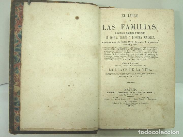 Libros antiguos: 1857 - EL LIBRO DE LAS FAMILIAS - NOVISIMO MANUAL PRACTICO -COCINA HIGIENE ECONOMIA DOMESTICA 7º EDI - Foto 4 - 140822206
