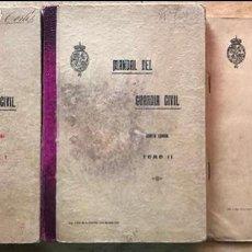 Libros antiguos: MANUAL DEL GUARDIA CIVIL. 2 TOMOS + APÉNDICE. CUARTA EDICIÓN. 1929. (MILITAR). Lote 140857974