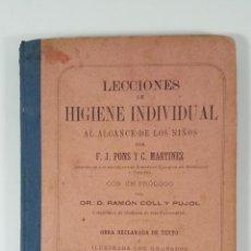 Libros antiguos: LECCIONES DE HIGIENE INDIVIDUAL. F.J. PONS Y C. MARTINEZ. BARCELONA. 1887.. Lote 141279206