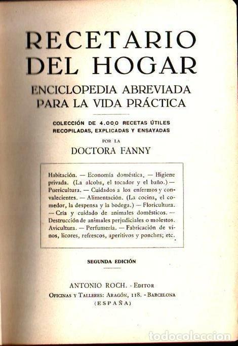 Libros antiguos: DOCTORA FANNY : RECETARIO DEL HOGAR (A. ROCH, c. 1930) - Foto 2 - 141453210