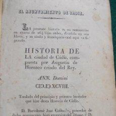 Libros antiguos: HISTORIA DE LA CIUDAD DE CADIZ AGUSTIN DE HOROZCO . Lote 141758186