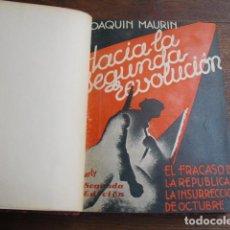 Libros antiguos: HACIA LA SEGUNDA REVOLUCION EL FRACASO DE LA REPUBLICA GRÁFICOS ALFA, BARCELONA JOAQUIN MAURIN. Lote 141762978