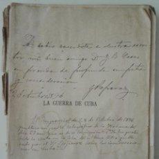 Libros antiguos: GONZALO REPARAZ. LA GUERRA DE CUBA. ESTUDIO MILITAR. 1896 - DEDICADO POR EL AUTOR. Lote 142054874