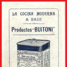 Libros antiguos: B1628 - BUITONI. ANTIGUO LIBRO DE COCINA CON RECETAS Y PUBLICIDAD DE EPOCA. DIFICIL DE ENCONTRAR... Lote 142110558