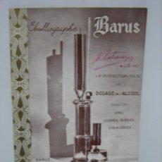 Libros antiguos: LIBRETO O CATALOGO FRANCÉS MATERIAL DE LABORATORIOS ENOLOGICO BARUS. Lote 142809478