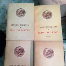 Libros antiguos: MAO TSE-TUNG. OBRAS ESCOGIDAS V. 1, 3 Y 4 EN CASTELLANO Y V.2 EN FRANCÉS.. Lote 142991062