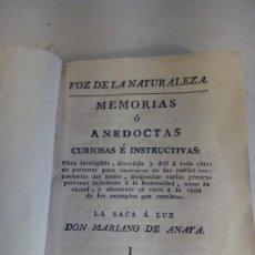 Libros antiguos: LIBRO DEL S. XVIII. MEMORIAS O ANÉCDOTAS CURIOSAS E INSTRUCTIVAS DE DON MARIANO DE ANAYA .. Lote 143044230