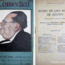 Libros antiguos: SUEÑO DE UNA NOCHE DE AGOSTO. NOVELA CÓMICA EN TRES PARTES. (Y) SALOMÉ. DRAMA EN UN ACTO. 1926.. Lote 143154938