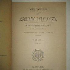 Livros antigos: MEMORIAS DE LA ASSOCIACIÓ CATALANISTA D'EXCURSIONS CIENTÍFICAS. VOLUM I. 1876-1877. 1880.. Lote 123147788