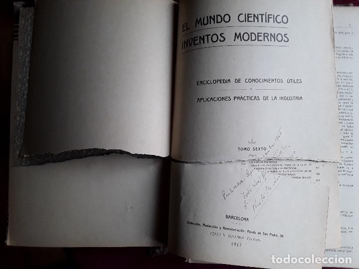 Libros antiguos: EL MUNDO CIENTIFICO INVENTOS MODERNOS, 9 TOMOS - Foto 6 - 143999514