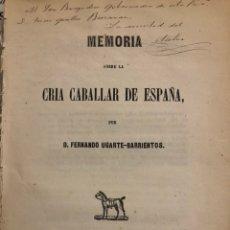 Libros antiguos: MEMORIA SOBRE LA CRÍA CABALLAR DE ESPAÑA CABALLOS. Lote 144040274