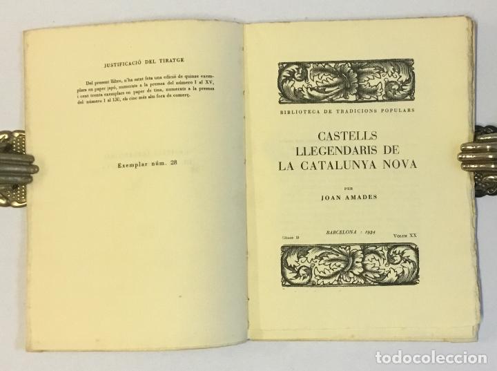 Libros antiguos: CASTELLS LLEGENDARIS DE LA CATALUNYA NOVA. - AMADES, Joan. 130 EXEMPLARS EN PAPER DE FIL. - Foto 2 - 144249458