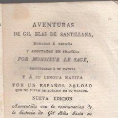Libros antiguos: LE SAGE: AVENTURAS DE GIL BLAS DE SANTILLANA. TOMO V. MADRID, 1818. CON DOS GRABADOS. Lote 144539794