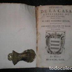 Libros antiguos: J. PELLICER DE OSAU SALAS Y TOVAR: MEMORIAL DE LA CASA Y SERVICIOS DE DON JOSEPH DE SAAVEDRA . 1697. Lote 144658058